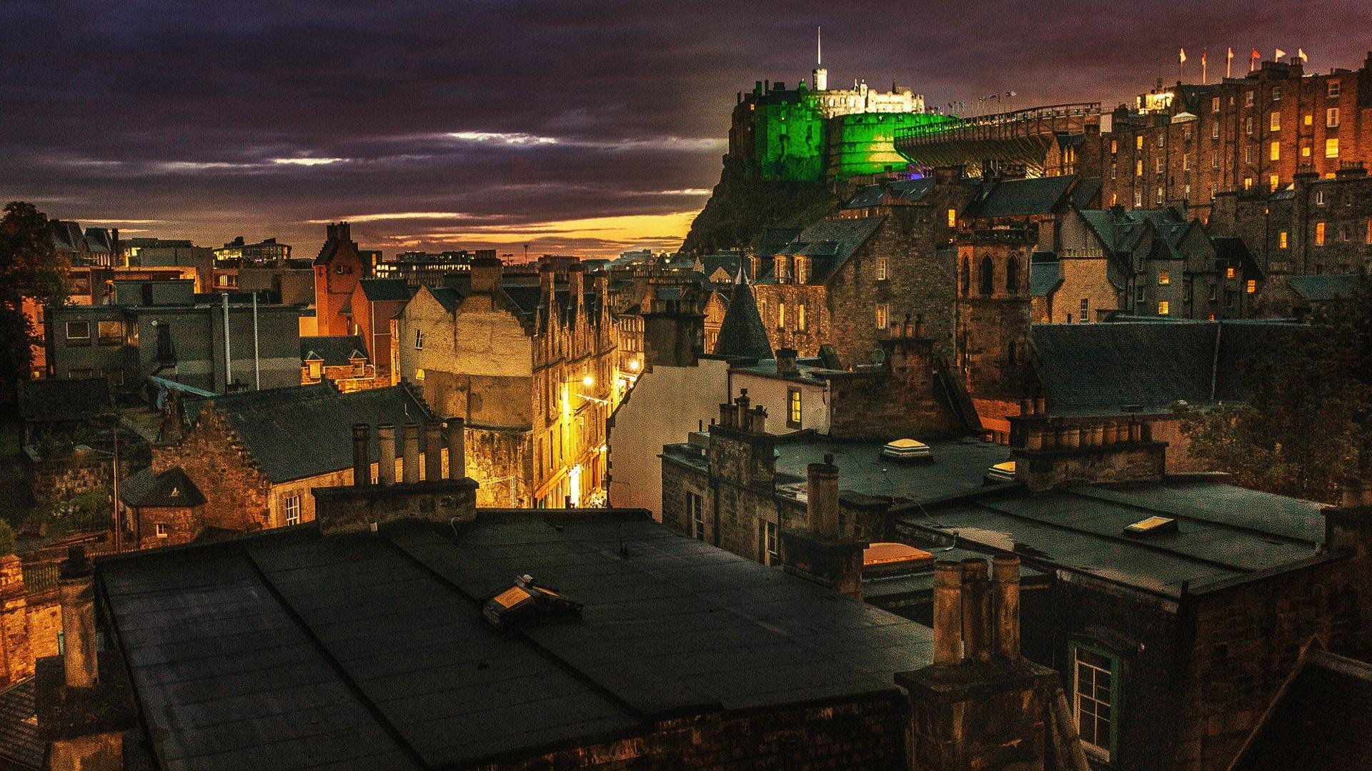 Edinburgh bei Nacht – Burg Edinburgh Castle